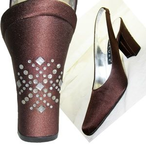 New RHINESTONE STUDDED BRONZE SATIN Heels 6